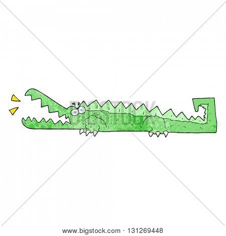 freehand textured cartoon crocodile