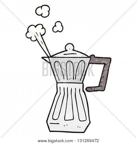 freehand textured cartoon espresso stovetop maker