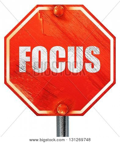 focus, 3D rendering, a red stop sign