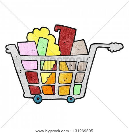 freehand textured cartoon shopping trolley