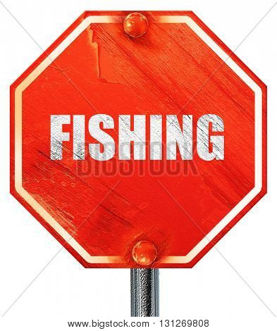 fishing, 3D rendering, a red stop sign