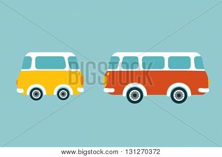 Retro bus, van, car. Flat vector concept.