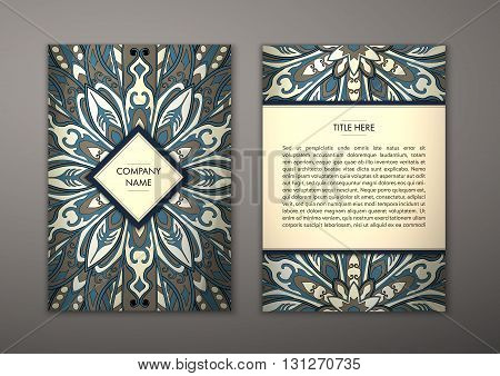 Flyer with Floral mandala pattern and ornaments. Vector Flyer oriental design Layout template size. Islam Arabic Indian ottoman motifs. Front page and back page. Easy to use and edit.
