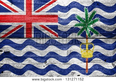 Flag Of British Indian Ocean Territory, Painted On Old Wood Plan