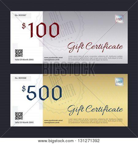Gift certificate voucher coupon template in vector format