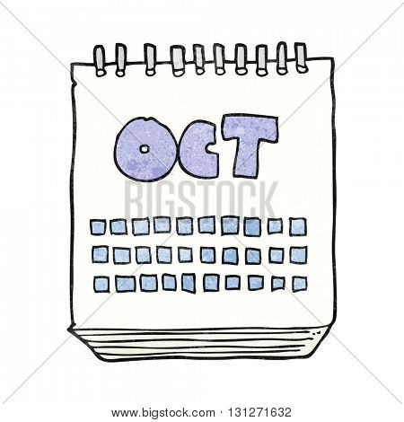 freehand textured cartoon calendar showing month of october