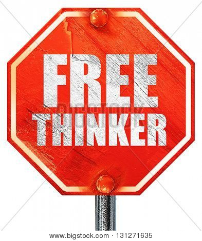 free thinker, 3D rendering, a red stop sign