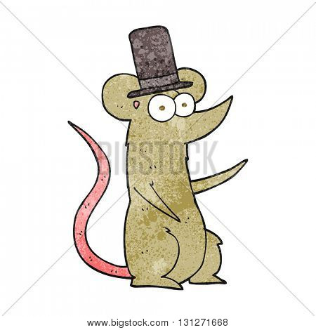 freehand textured cartoon mouse wearing top hat