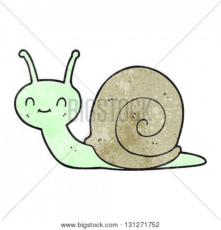 freehand textured cartoon cute snail