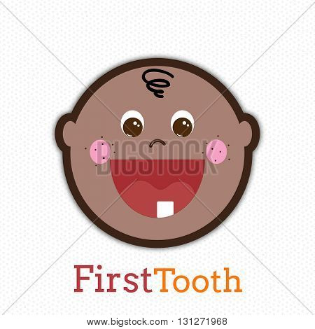 Cute Afro-American baby boy with first tooth. Little toddler smiling vector hand drawn illustration. Baby boy first tooth concept.