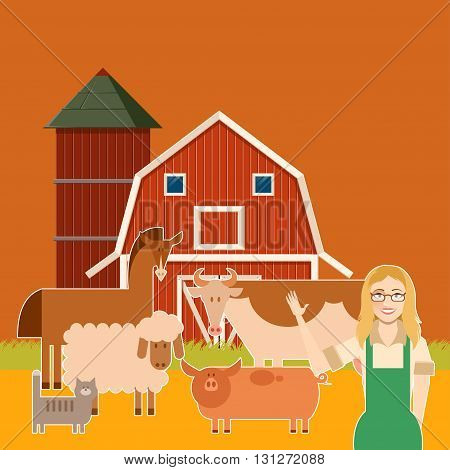 Vector image of the  Farm banner with flat animals3