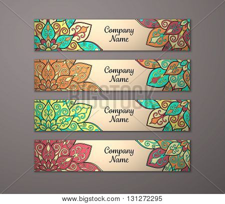 Banner set. Floral mandala pattern and ornaments. Oriental design Layout. Asian Arabic Indian ottoman motifs.