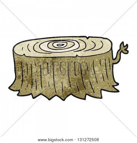 freehand textured cartoon tree stump