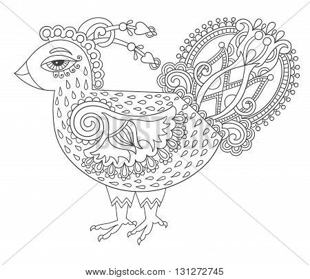 line art cock drawing for coloring book page joy to older children and adult colorists, who like line art and creation, black and white vector illustration