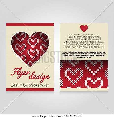 Brochure flier design template with heart pattern. Vector love poster illustration. Leaflet cover layout in A4 size.