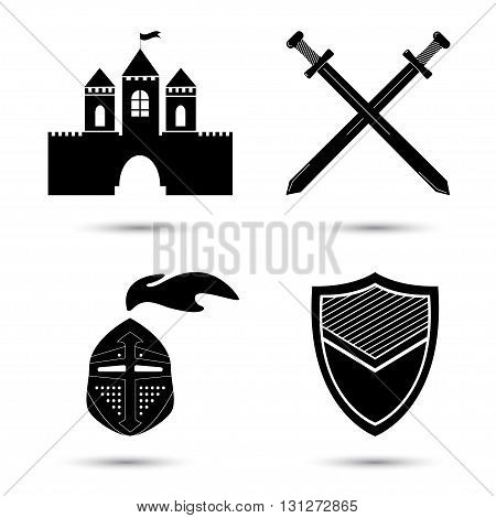 Medieval black vector icons set isolated on white. Old castle. Knight shield and sword