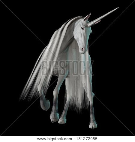 3D Rendering Fantasy Unicorn On Black