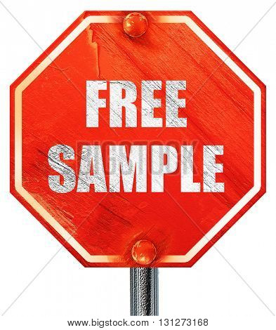 free sample sign, 3D rendering, a red stop sign