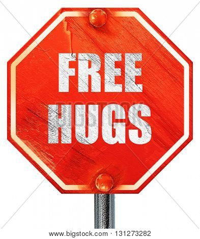 free hugs, 3D rendering, a red stop sign