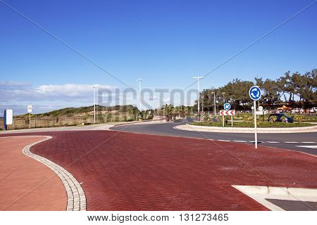 Empty Paved And Patterned Promenade On Beachfront