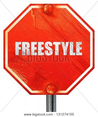 freestyle, 3D rendering, a red stop sign