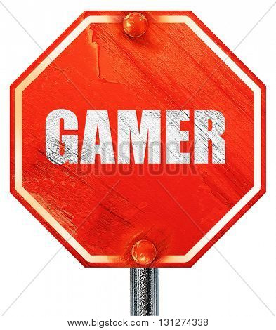 gamer, 3D rendering, a red stop sign