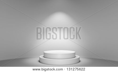 Spotlight illuminate podium with steps in center exhibition room. 3D illustration