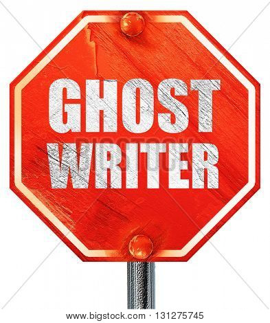 ghost writer, 3D rendering, a red stop sign