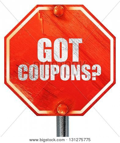 got coupons?, 3D rendering, a red stop sign