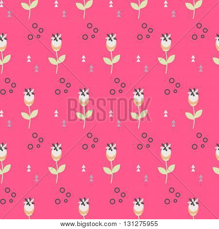 Wild flower spring field seamless pattern. Floral tender fine summer vector pattern on pink background. For fabric textile prints and apparel.