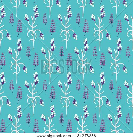 Wild flower purple and white plant spring field seamless pattern. Floral tender fine summer vector pattern on bright blue background. For fabric textile prints and apparel.
