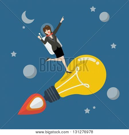 Business woman astronaut on a moving lightbulb idea rocket. Project start up new business.