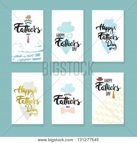 Happy Father's day lettering calligraphy greeting cards set with hat, mustache, bow tie, glasses, tie isolated on the colorful background. Illustration for Fathers Day invitations. Dad's day lettering