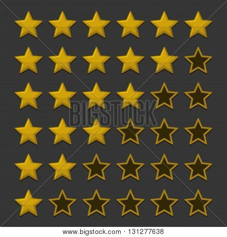 Simple Rating Stars on Dark background. Vector illustration
