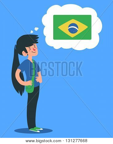 Cartoon Girl Thinking About Brazil
