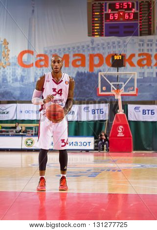 Bc Krasnye Krylia Guard Bracey Wright (34) Prepares To Shoot A Free Throw