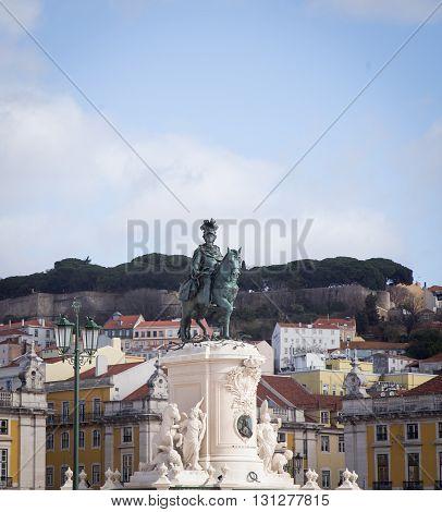 Statue of King Joao, Praca de Figueira in Lisbon