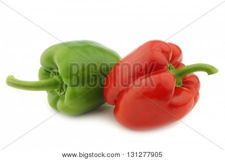 red and green bell pepper (capsicum) on a white background