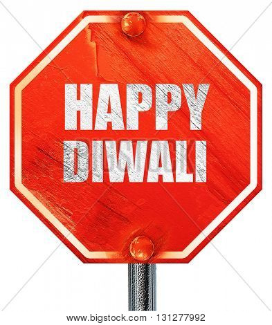 happy diwali, 3D rendering, a red stop sign