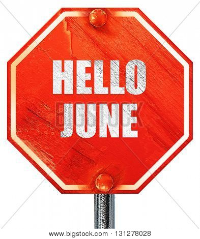 hello june, 3D rendering, a red stop sign