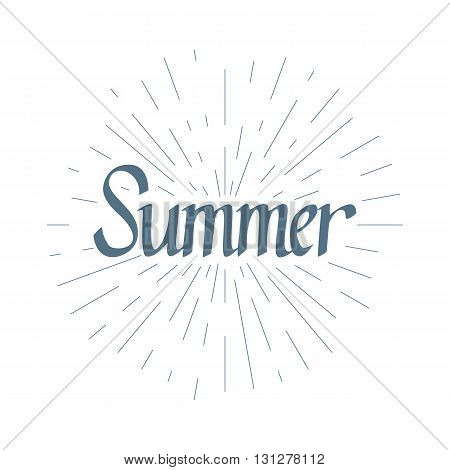 Hand drawn typography lettering phrase Summer in the circle with light rays isolated on the white background. Modern calligraphy for typography greeting and invitation card or t-shirt print.