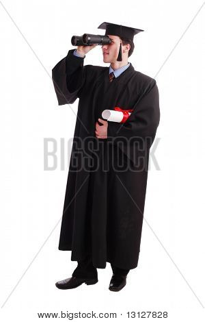 Portrait of a young man in an academic gown. future trends. Education background.