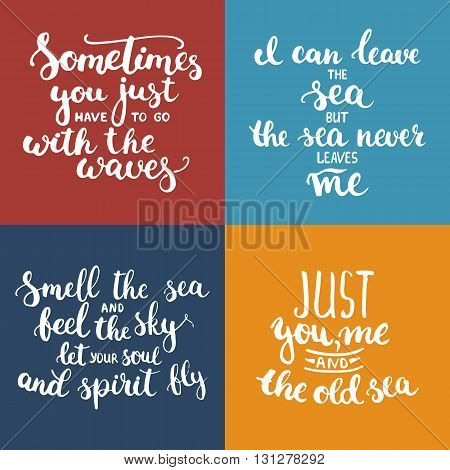 Hand drawn typography lettering phrases set about sea, ocean and summer time. Modern calligraphy for typography greeting and invitation card for sea summer beach party.