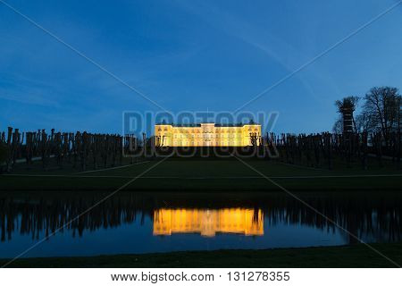 Frederiksberg, Denmark - May 01, 2016: Photograph of Frederiksberg castle in Frederiksberg Park by night.