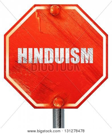 hinduism, 3D rendering, a red stop sign