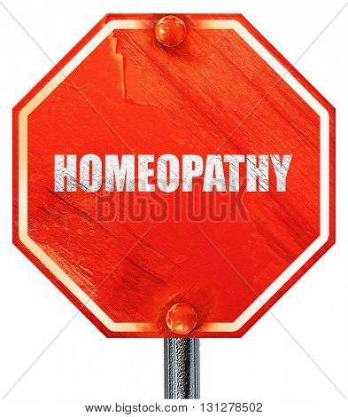 homeopathy, 3D rendering, a red stop sign
