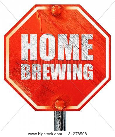 home brewing, 3D rendering, a red stop sign