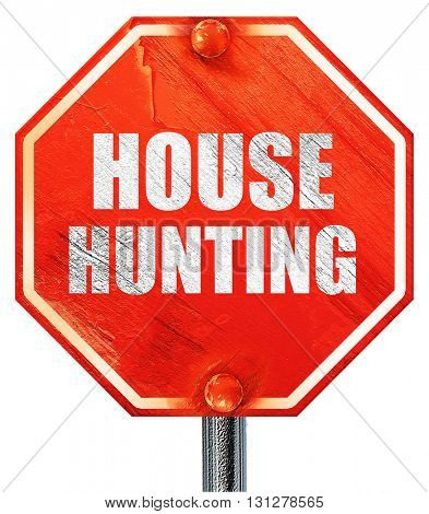 house hunting, 3D rendering, a red stop sign