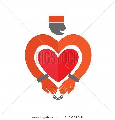 Stylized Prisoner with heart icon. Online Dating. Flat style vector illustration on gray background. American prisoner in orange uniform
