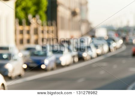 indistinct background in a look the avtomobidnykh of jams in the city in the summer